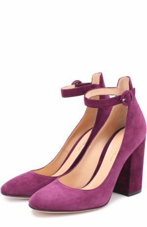 Замшевые туфли Greta на устойчивом каблуке Gianvito Rossi. Цвет: сиреневый