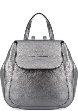 Кожаный рюкзак с откидным клапаном Gianni Chiarini. Цвет: серебряный