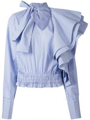 Полосатая рубашка с рюшами Off-White. Цвет: синий