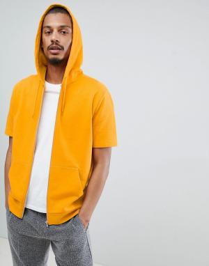 ASOS Желтый худи на молнии с короткими рукавами DESIGN. Цвет: желтый