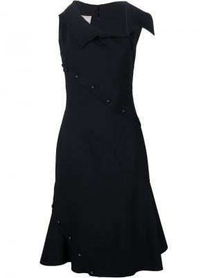 Приталенное платье с декоративными пуговицами Monse. Цвет: чёрный