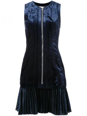 Бархатное платье на молнии 3.1 Phillip Lim. Цвет: синий