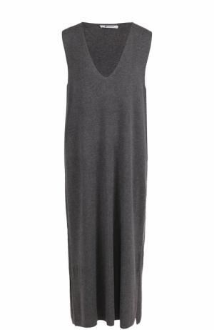 Платье свободного кроя с V-образным вырезом T by Alexander Wang. Цвет: темно-серый