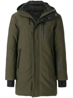 Пальто с капюшоном на молнии Mackage. Цвет: зелёный