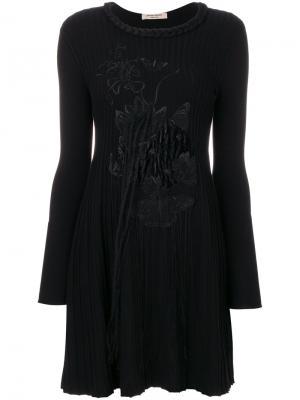 Трикотажное платье с вышивкой Piccione.Piccione. Цвет: чёрный