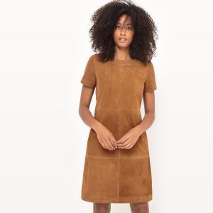 Платье прямое, 100% кожа La Redoute Collections. Цвет: темно-бежевый,темно-синий