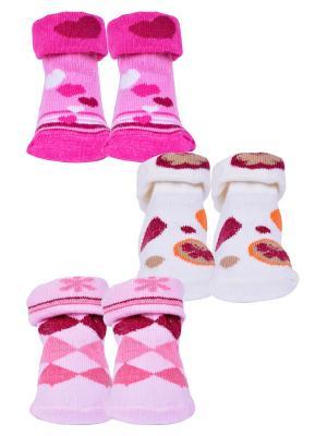 Носки, 3 пары Malerba. Цвет: молочный, розовый