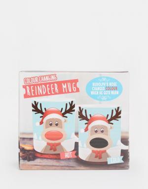 50FIFTY Кружка с меняющимся под воздействием тепла рисунком оленя Rudolph. Цвет: мульти