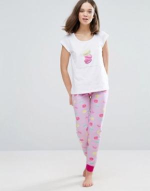Loungeable Пижама с миндальными пирожными. Цвет: белый