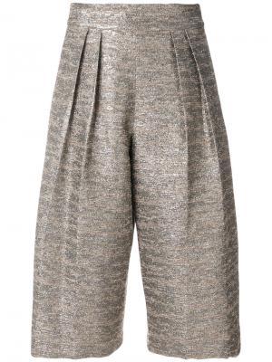 Плиссированная юбка-брюки Alice+Olivia. Цвет: телесный