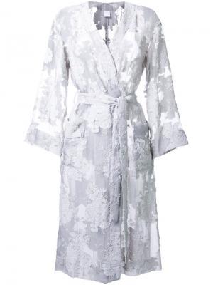 Кружевное пальто с поясом Cityshop. Цвет: белый