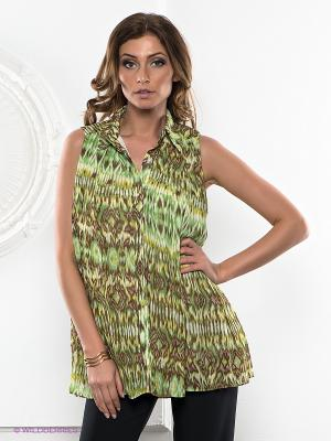 Рубашка La Reine Blanche. Цвет: зеленый, желтый