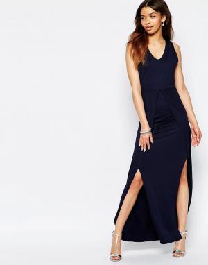 Wal G Платье макси с боковыми разрезами. Цвет: темно-синий