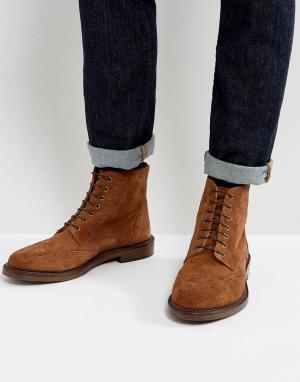 WALK LONDON Замшевые ботинки броги Darcy. Цвет: рыжий