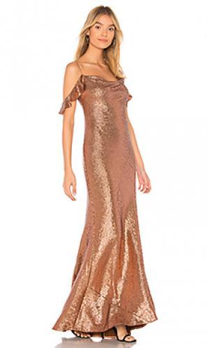 Вечернее платье cecilia RACHEL ZOE. Цвет: металлический медный