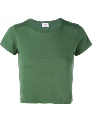 Укороченная футболка Hanes Re/Done. Цвет: зелёный