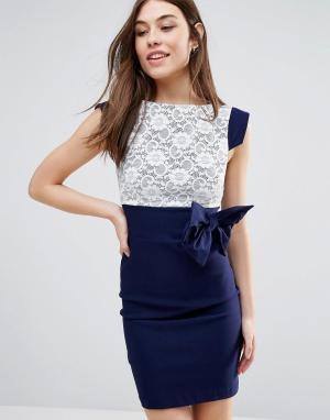 Vesper Платье миди с кружевом и бантом. Цвет: темно-синий