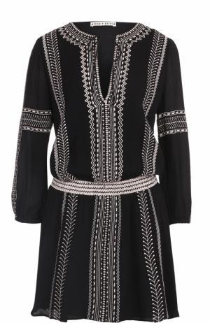 Приталенное мини-платье с контрастной вышивкой Alice + Olivia. Цвет: черный