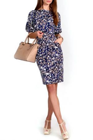 Платье FRANCESCA LUCINI. Цвет: бежевый, темно-синий