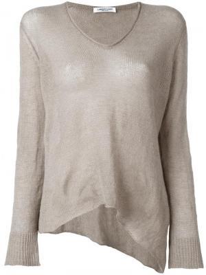 Блузка с V-образным вырезом Lamberto Losani. Цвет: телесный