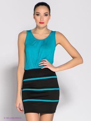 Платье Eunishop. Цвет: черный, бирюзовый