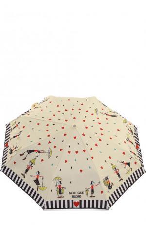 Складной зонт с принтом Moschino. Цвет: кремовый