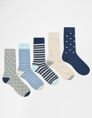 Urban Eccentric 5 пар носков с полосками. Цвет: мульти
