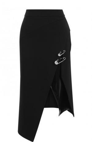 Однотонная юбка-миди асимметричного кроя Versus Versace. Цвет: черный