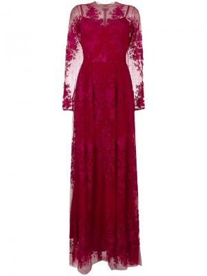 Вечернее кружевное платье Zuhair Murad. Цвет: красный