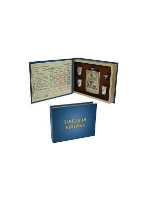 Подарочный набор Медик: шкатулка, фляжка, воронка, стаканчики Русские подарки. Цвет: синий, бежевый