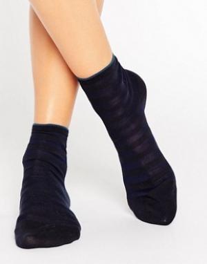 Falke Темно-синие короткие носки из поплина. Цвет: темно-синий