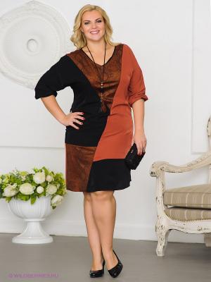 Платье Gemko plus size. Цвет: черный, коричневый