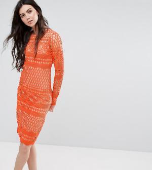 True Decadence Tall Кружевное платье миди с длинными рукавами. Цвет: оранжевый