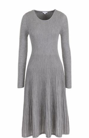 Плиссированное платье-миди с длинным рукавом Escada Sport. Цвет: серый