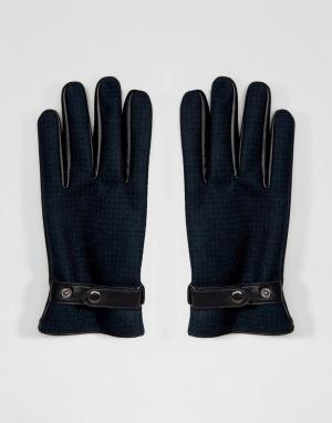 ASOS Зеленые кожаные перчатки в клетку. Цвет: зеленый