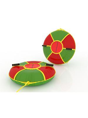 Санки-ватрушка (тюбинг) 100 см Мультиколор SPORTREST. Цвет: зеленый, красный, желтый