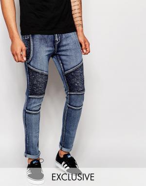 Liquor & Poker Облегающие джинсы скинни. Цвет: синий