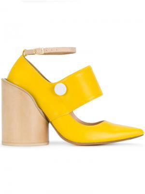 Туфли-лодочки с заостренным носком на блочном каблуке Jacquemus. Цвет: жёлтый и оранжевый