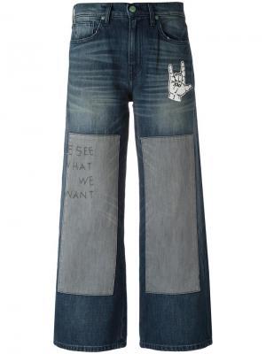 Широкие джинсы с вышитым текстом Sandrine Rose. Цвет: синий