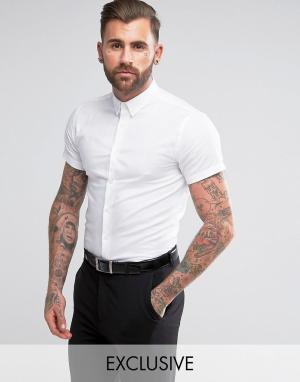 Heart & Dagger Зауженная рубашка с короткими рукавами и воротником на пуговицах. Цвет: белый