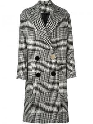 Двубортное пальто в клетку Petar Petrov. Цвет: чёрный