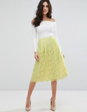 Darling Короткая расклешенная юбка из кружевной ткани. Цвет: зеленый