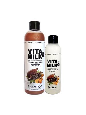 Шампунь VitaMilk 500мл, Бальзам 250мл, аромат: Зерна какао и миндаль VITA-MILK. Цвет: коричневый, белый