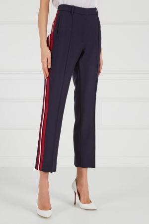 Синие брюки с лампасами Victoria Beckham. Цвет: синий