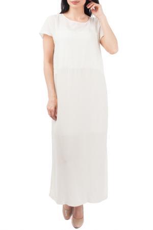 Двухслойное платье с коротким рукавом EUROPEAN CULTURE. Цвет: светло-бежевый