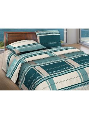 Комплект постельного белья 1,5 бязь Kempten Wenge. Цвет: бирюзовый, светло-серый