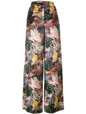 Бархатные широкие брюки Bertie с цветочным принтом Erdem. Цвет: многоцветный