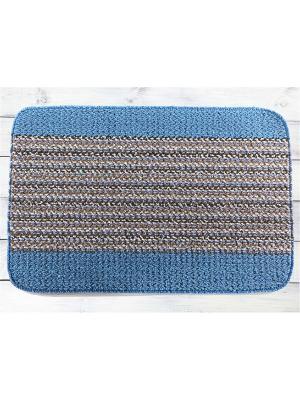 Коврик для прихожих и жилых помещений 45х69см NIKLEN. Цвет: синий, белый, коричневый