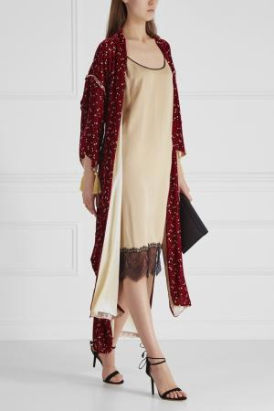Шелковый халат Esve. Цвет: красный