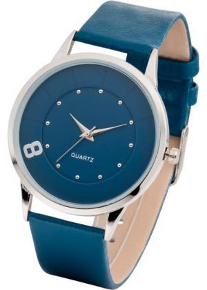 Часы наручные однотонные (темно-синий/серебристый) bonprix. Цвет: темно-синий/серебристый